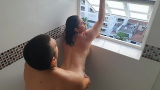 Kathalina777 fucks hard and delicious in the bathroom while her neighbors see her