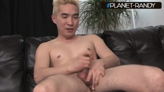 asian daddy, jerks off his little dick