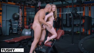 TUSHY Fit hottie Cayenne gapes for her personal trainer
