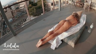 He caught me masturbating.. ! Very intimate sex on the balcony - Amateur Couple LeoLulu