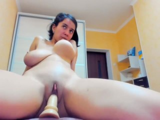 Hot, wet and horny Myla_Angel rides big dildo and sucks her tits :-)
