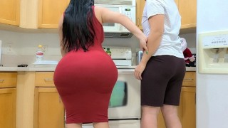 BIG ASS STEPMOM FUCKS HER STEPSON IN THE KITCHEN AFTER SEEING HIS BIG BONER ON THANKSGIVING