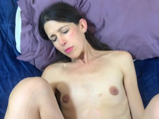 Fuck me hard and cum inside me POV small tits milf getting fucked creampie up close shaved pussy