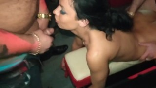 Night club gangbang for slutty Russian brunette. All holes filled with cum.