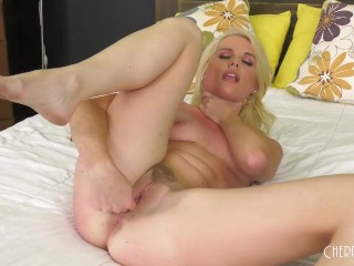 Horny Blonde Nikki Sweet Drops Panties and Masturbates With Toys and Shows Her Natural Tits