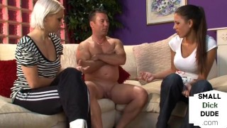 Clothed dominas jerk and humiliate couriers small dick