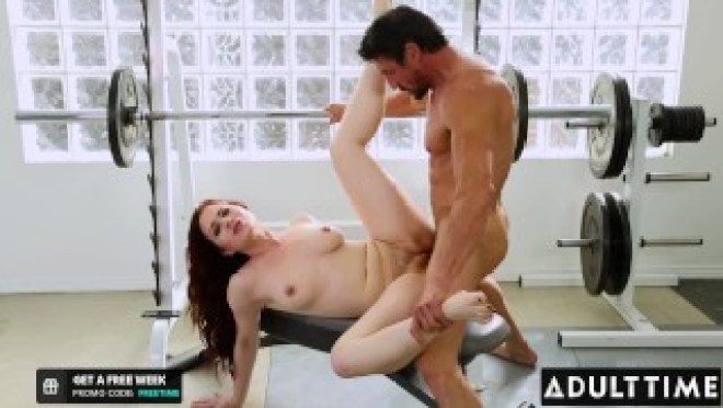 ADULT TIME – Sexy Redhead Jessica Ryan Secretly Fucks Her Buff Brother-In-Law At The Gym