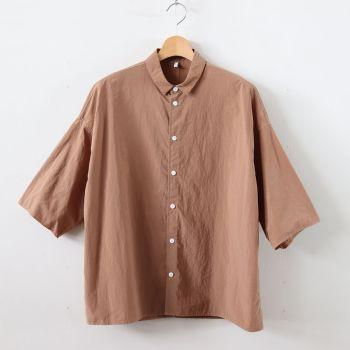 FIRMUM | フィルマム [ FO5SH|ナイロンタッサー/ガーメントダイ スモールカラーオーバーシャツ #CARAMEL DYED [S9-FR143S5] ]
