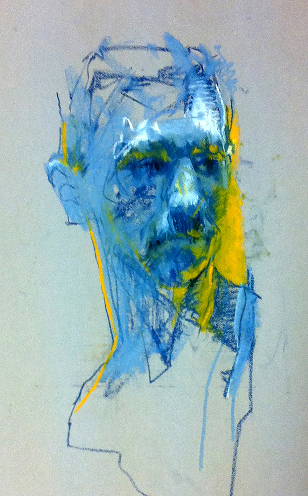 Blue Man chalk on paper , 33 x 23 inches