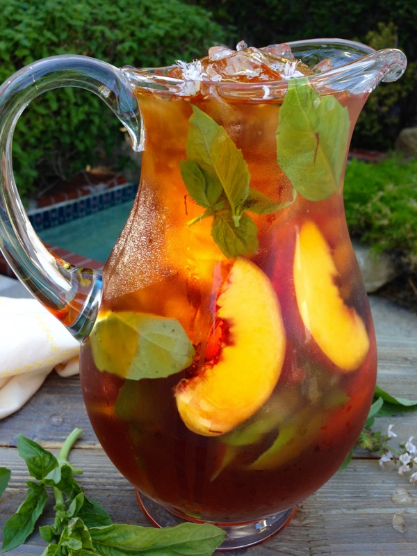 Healthy Skin Iced Saffron Tea with Peach and Basil | Ciao Florentina