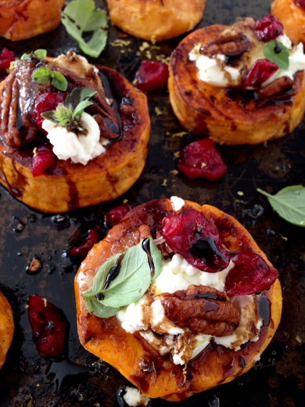 Sweet Potato Rounds Recipe with Goat Cheese, Cranberries ...