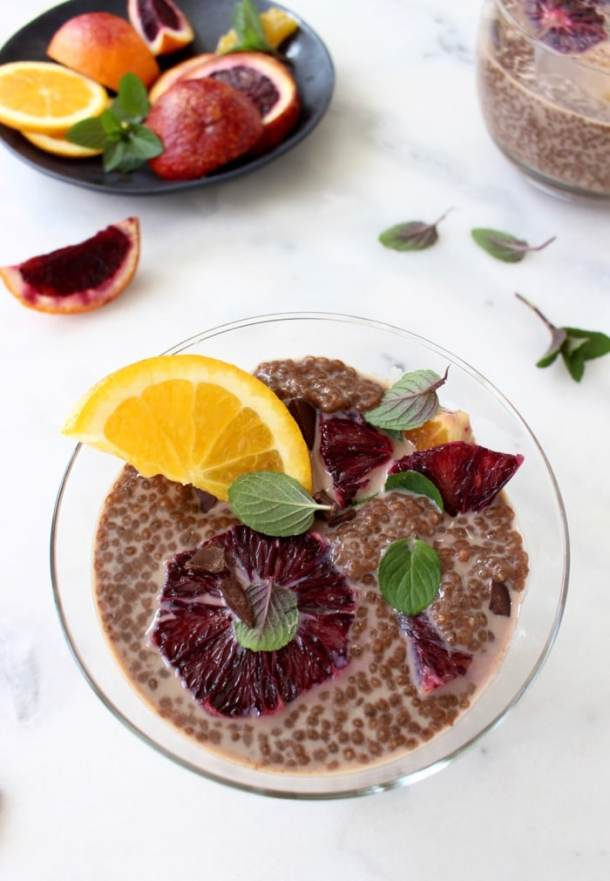 Chia Chocolate Pudding Recipe with Moro Blood Oranges