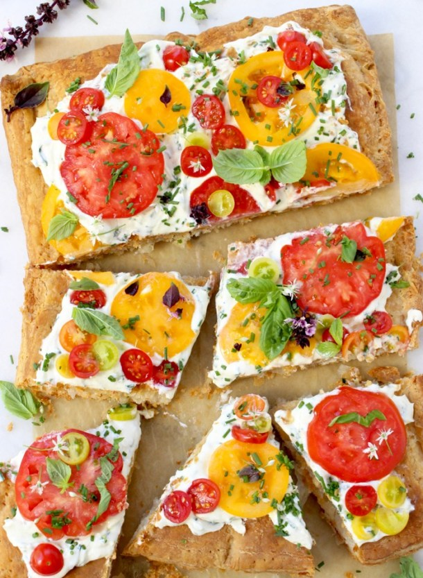 Tomato Tart with Whipped Goat Cheese, Puff Pastry, Basil and Chives