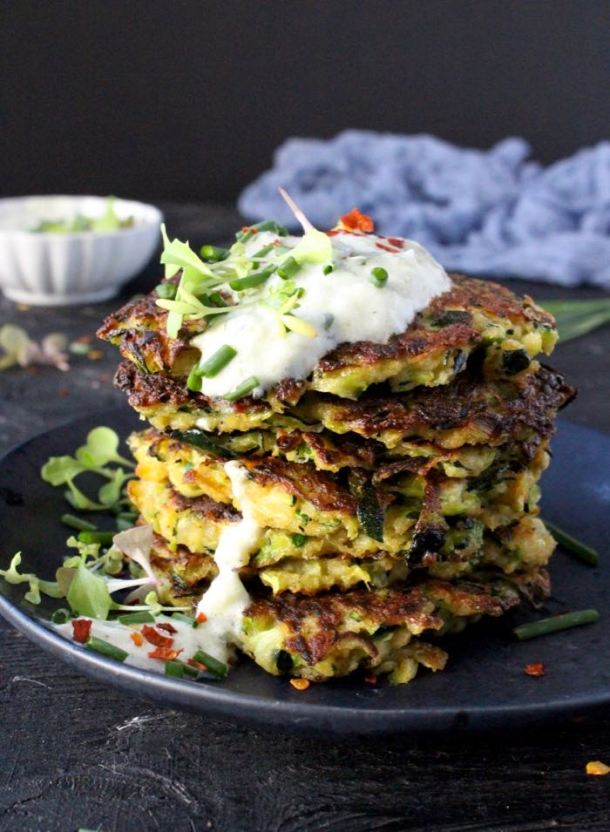 Stacked Zucchini Cakes with Yogurt Dipping Sauce