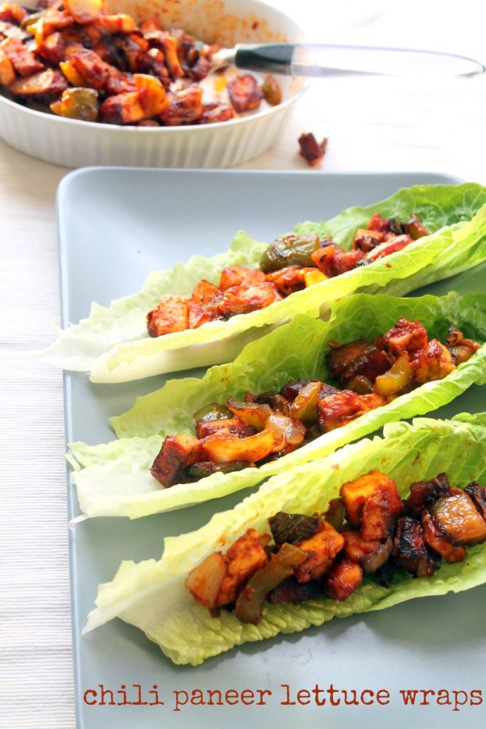 Indo-Chinese inspired chili paneer lettuce wraps. A simple, quick dinner that is perfect for a warm day!