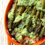 Summer pea & asparagus baked risotto with pesto