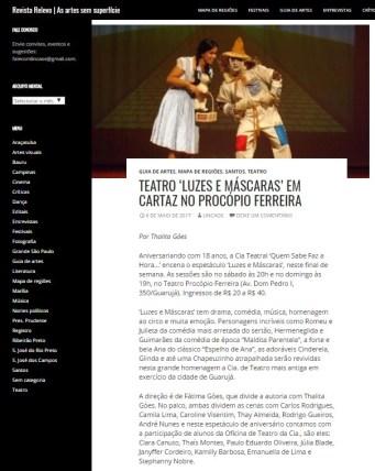 Matéria revista relevo luzes e máscaras maio 2017