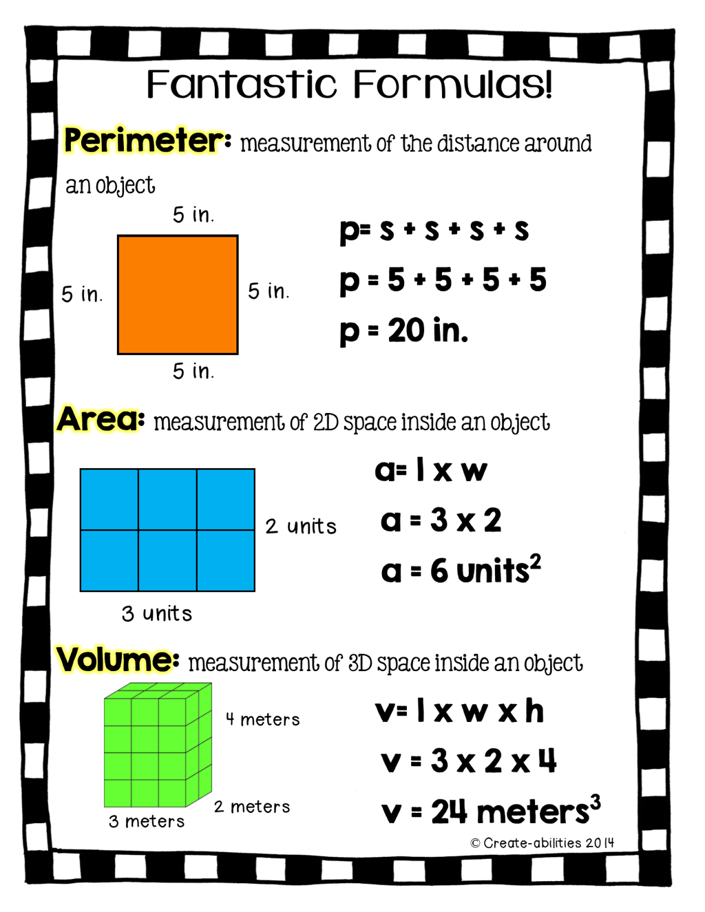 Perimeter Area And Volume
