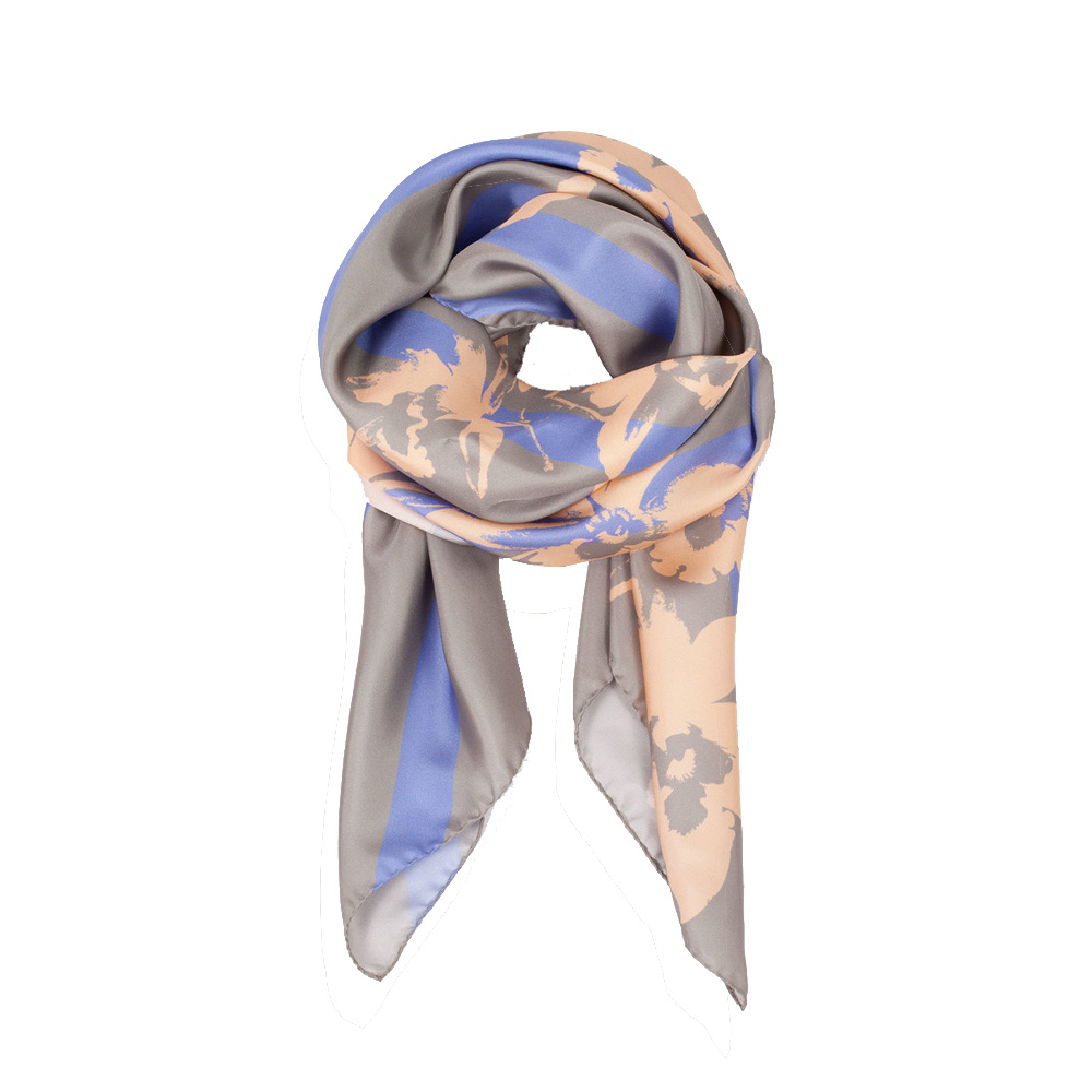 DESIGNER BALMY STRIPE SCARF IN LIGHT GREY, CREAM AND LILAC