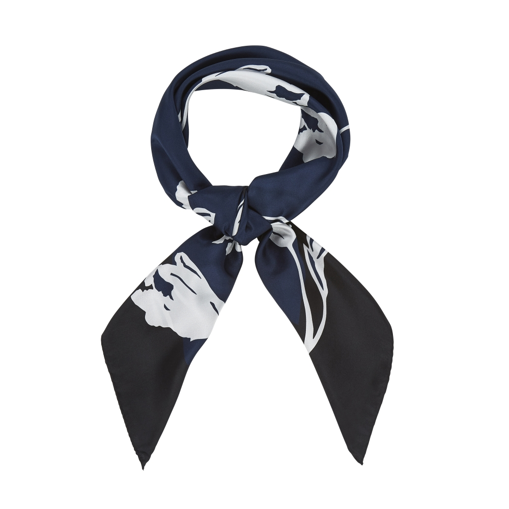 DESIGNER ALBURY TULIP SCARF IN NAVY, BLACK AND WHITE
