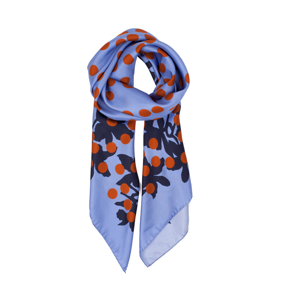 DESIGNER MILLIONBELLS SCARF IN LILAC, NAVY AND COPPER
