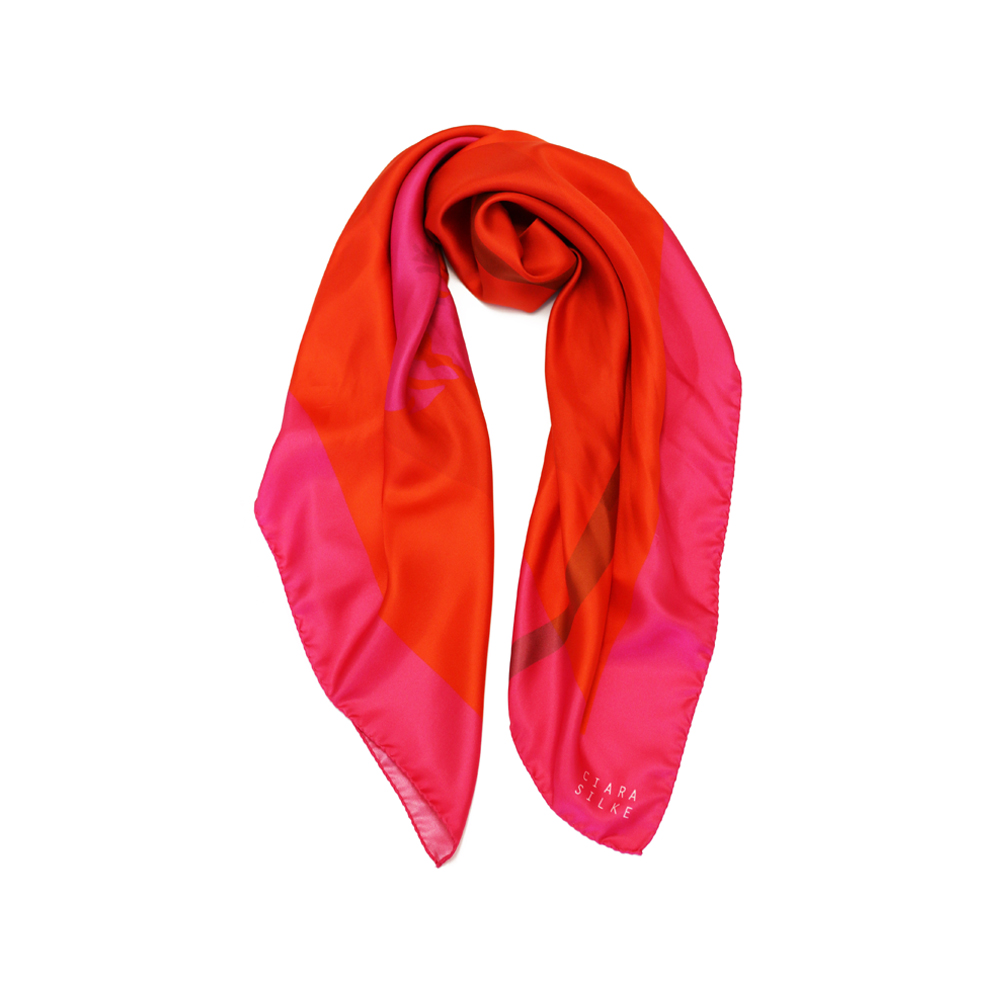 DESIGNER PAINTED DAISY SCARF IN HOT PINK, ORANGE AND LIGHT BROWN