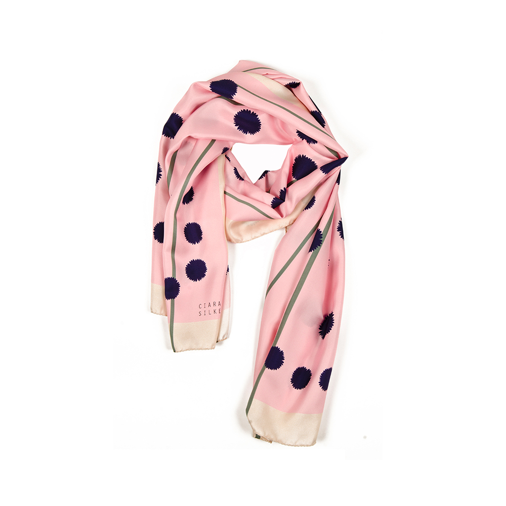 DESIGNER PRAIRIE CORD SCARF IN WARM BLUSH, VIOLET, AND GREEN