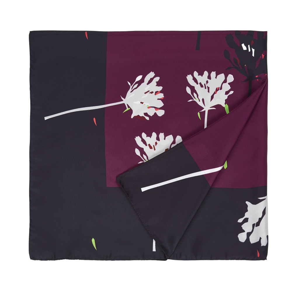 DESIGNER VERBENA SCARF IN CHARCOAL, MAROON, AND WINTER WHITE