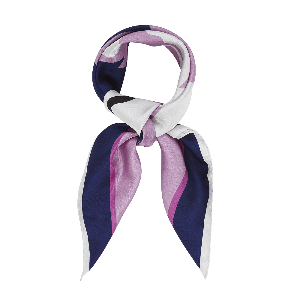 DESIGNER YURI SCARF IN NAVY BLUE, ORCHID AND WHITE