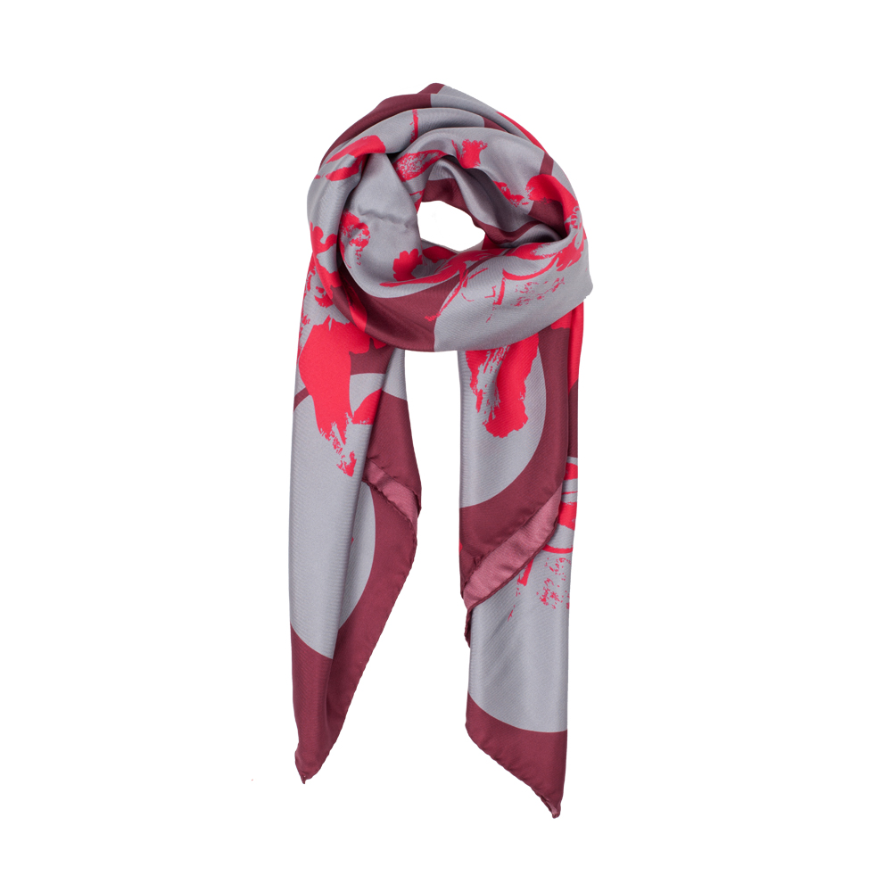 DESIGNER SPOTTED JEWELWEED SCARF IN MAROON, RUBY AND GREY