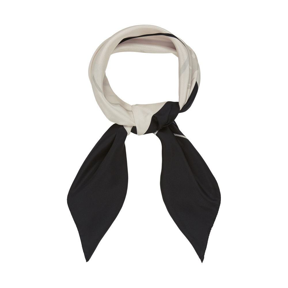 DESIGNER VERBENA SCARF IN RICH WHITE, CREAM AND BLACK
