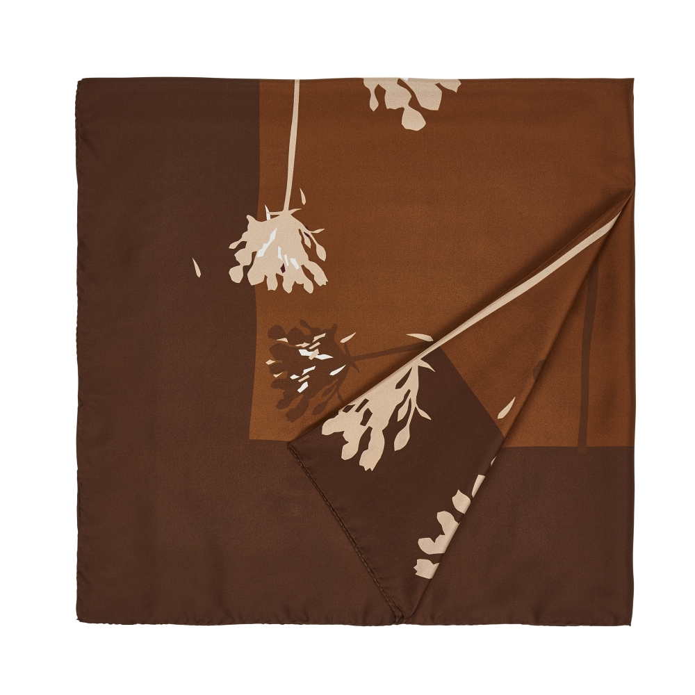 DESIGNER VERBENA SCARF IN TOBACCO, GOLDEN BROWN AND SAND
