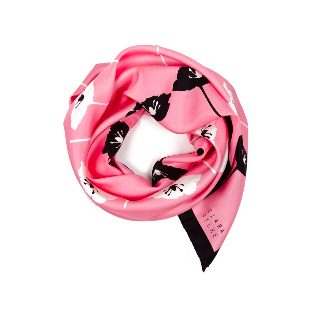 DESIGNER BLÁTH POIPÍN SCARF IN FLAMINGO, BLACK AND WHITE