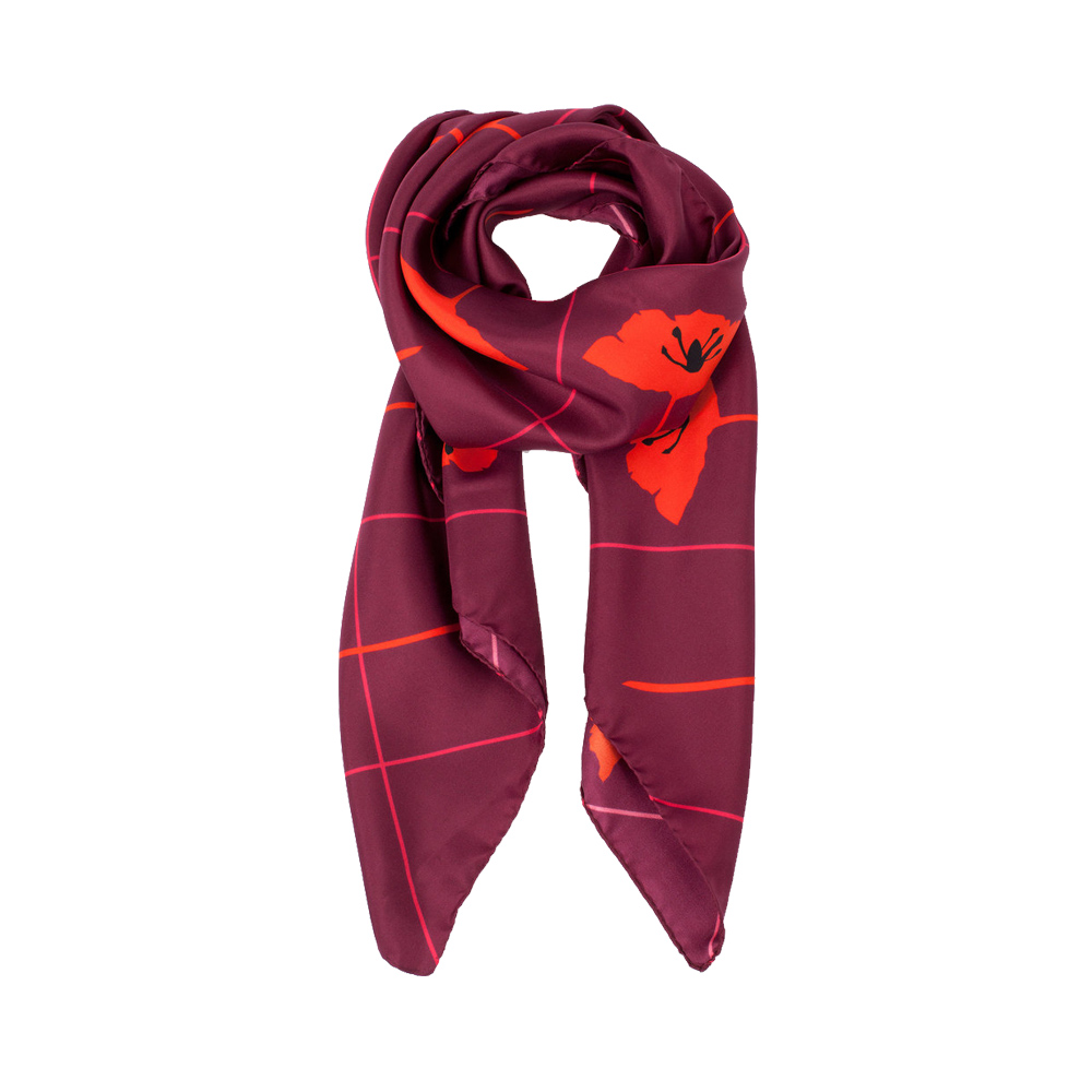 DESIGNER CRISS CROSS FLEUR SCARF IN MAGENTA, HOT PINK AND BLACK