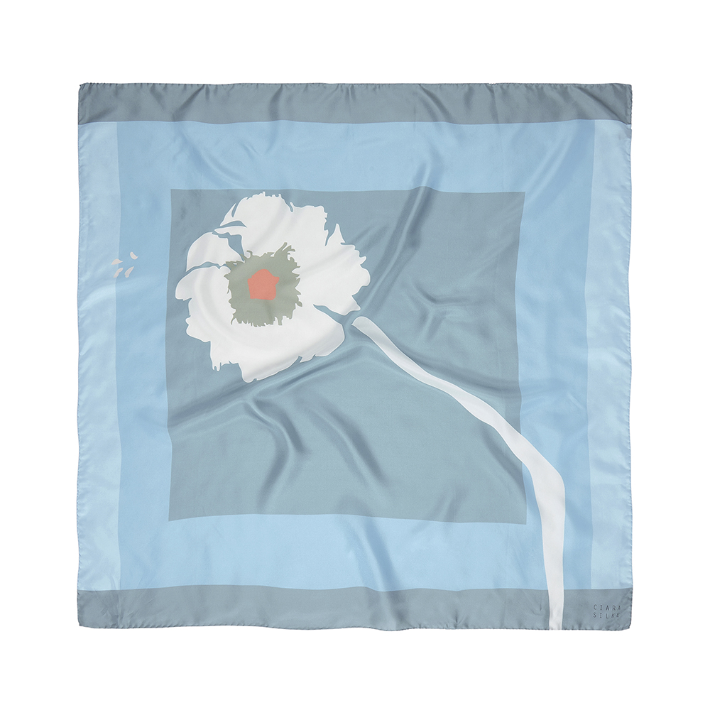 DESIGNER PAINTED DAISY SCARF IN BABY BLUE, GREY, SILVER AND CORAL