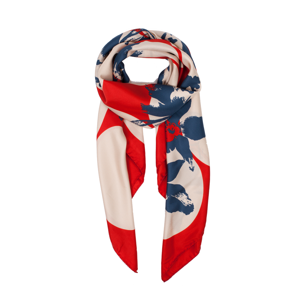 DESIGNER SPOTTED JEWELWEED SCARF IN SCARLET, CREAM AND NAVY