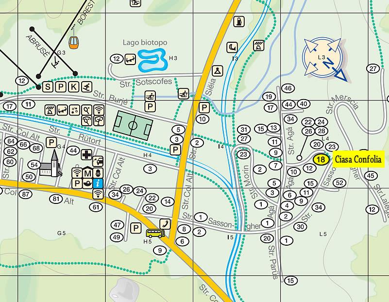 Karte Corvara und Ciasa Confolia