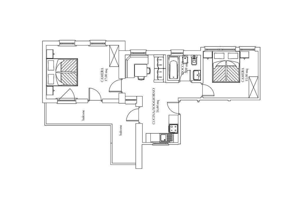 Piantina Appartamento Sassongher Ciasa Primula Corvara