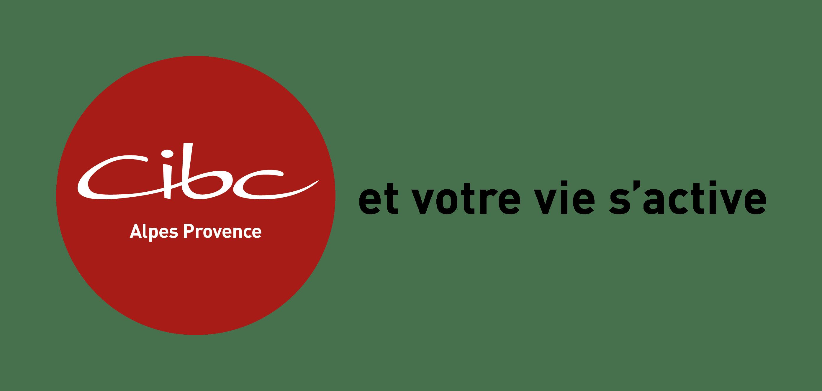 logo CIBC Alpes Provence blanc sur rond rouge plus slogan