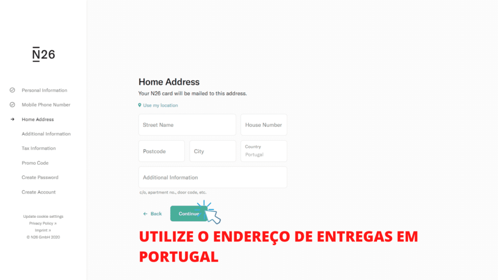 tela mostrando o passo 5 de como abrir conta no banco n26 portugal