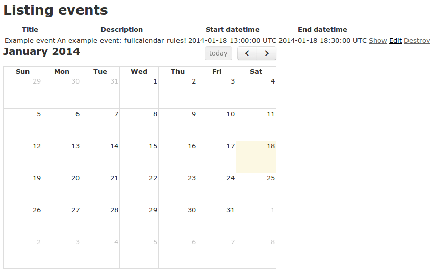 Fancy calendars for your web application with FullCalendar