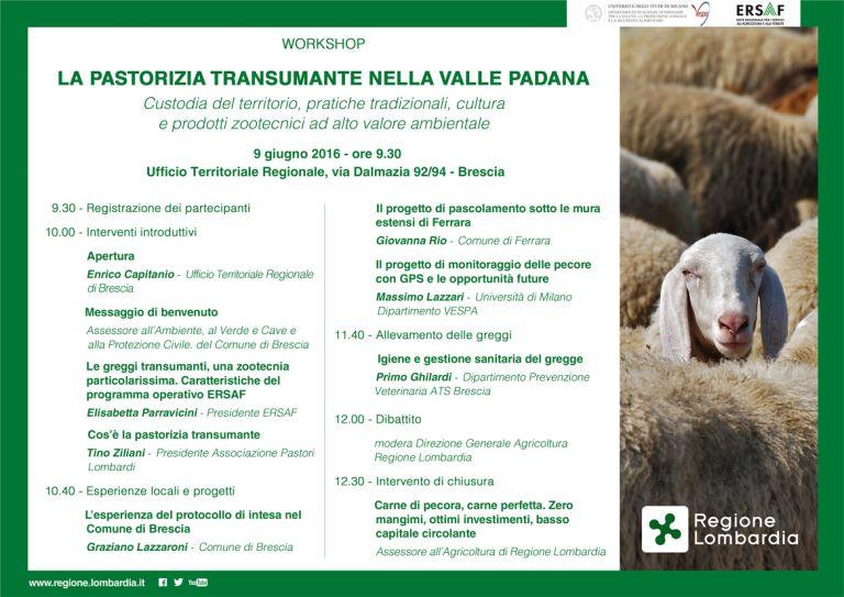 PROGRAMMA workshop 9 giugno, LA PASTORIZIA TRANSUMANTE
