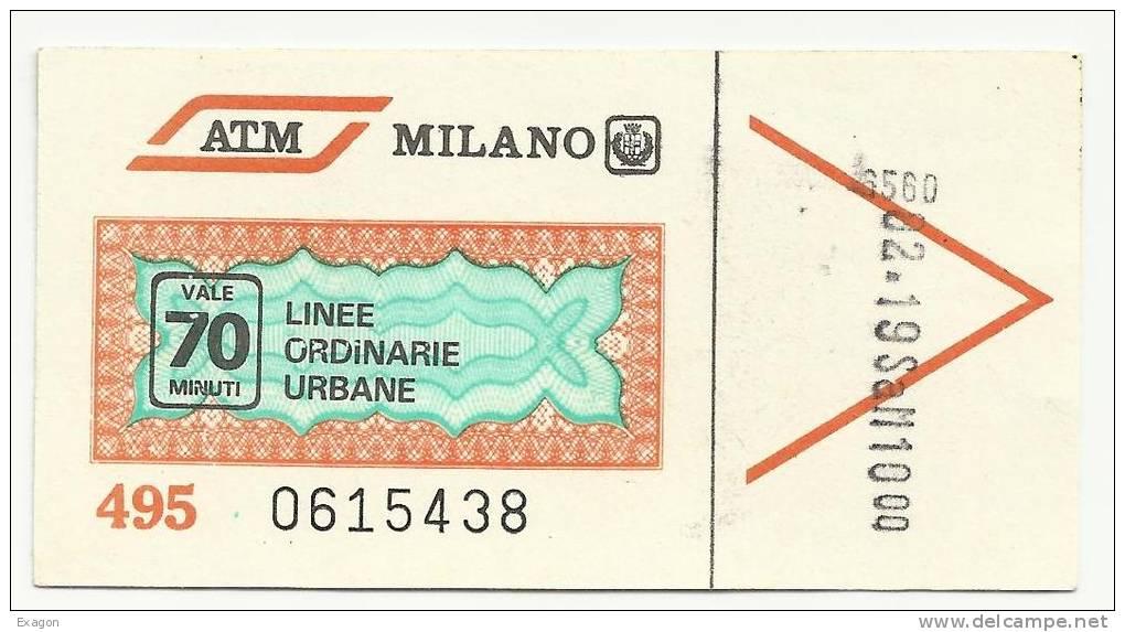 Biglietto ATM Milano 1982