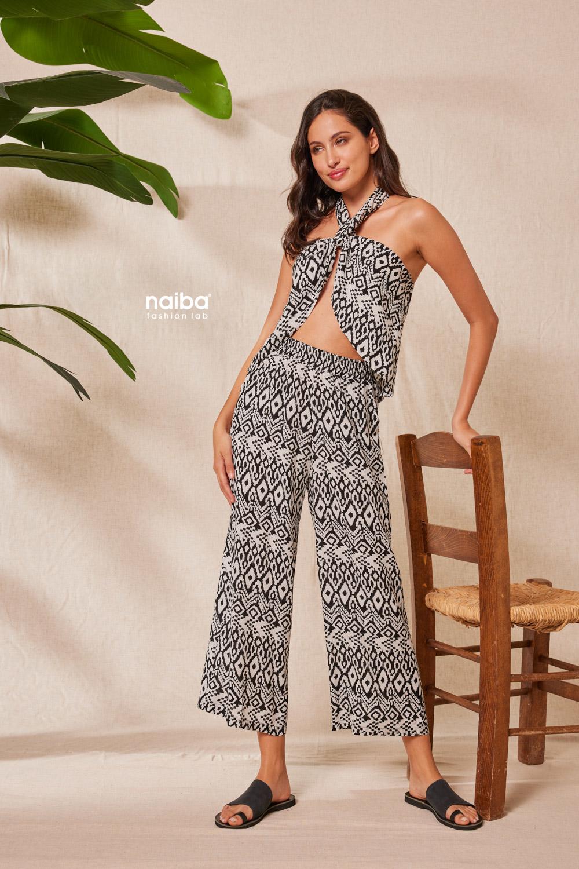 Φωτογραφία προϊόντος Crop Top γεωμετρικό μοτίβο - Crop Top γεωμετρικό μοτίβο - Παντελόνα ζιπ με μοτίβο