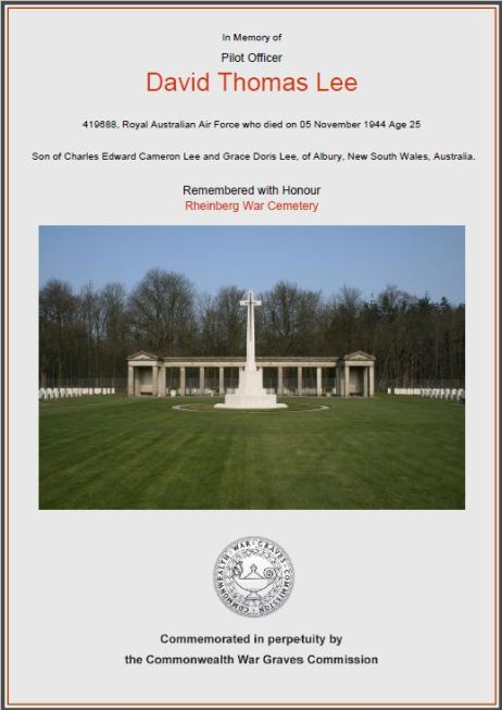 David Lee's certificate commonwealth war graves Rheinberg cemetery