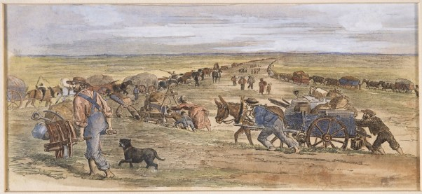 Travelling to the diggings, the Keilor Plains. Victoria. Courtesty of SLV