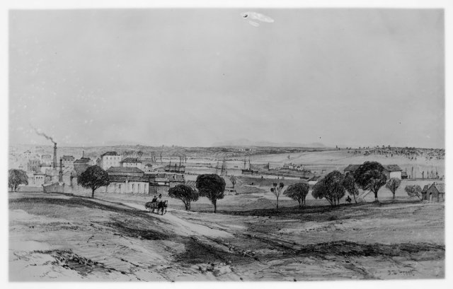 1840s-1850s View of Melbourne from Collingwood. Artist: Courtesy of SLVhttp://handle.slv.vic.gov.au/10381/104511