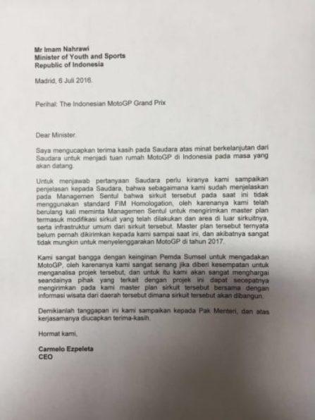 surat-resmi-dorna-motogp-indonesia-tidak-layak