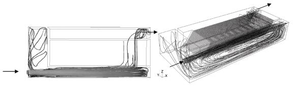 Figure 5 : Lignes de courant pour le cas 1