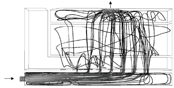 Figure 9 : Lignes de courant pour le test 5